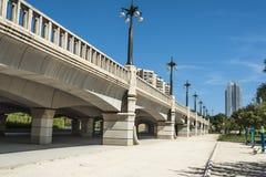 Bridge over Gardens of Turia in Valencia. Royalty Free Stock Photos