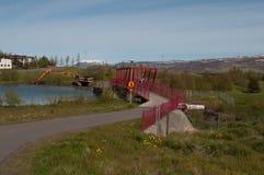 Bridge over Glera river dam in Iceland Royalty Free Stock Photos