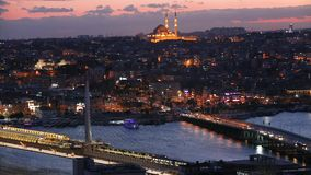 Istanbul at night, bridges across the Golden Horn. Ataturk Bridge and Golden Horn Bridge in the night