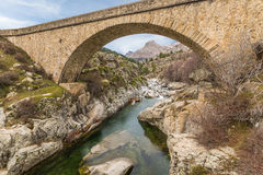 Bridge over Golo river with Mount Albanu in distance Stock Image