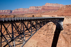 Bridge over the Grand Canyon. Navajo Bridge crosses the Colorado River's Marble Canyon near Lee's Ferry in the U.S. state of Arizona Stock Image