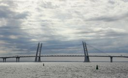 Bridge over the Gulf of Finland, St. Petersburg on a summer day. beautiful sky stock photos