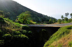 Bridge over gulley. Arched bridge over the dry river bed connect the town of Ribeira Filipe to Campana Riba on the island of Fogo, Cabo Verde Royalty Free Stock Image