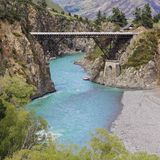 Bridge over the Hanmer river, New Zealand`s south island stock images