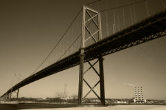 Bridge Over Harbour. MacKay Bridge spans Halifax Harbour in Nova Scotia Canada Royalty Free Stock Image