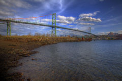 Bridge over Harbour. A bridge spans the waters of the harbour Royalty Free Stock Image