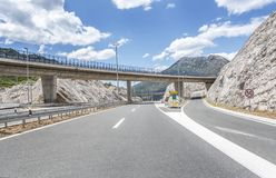 Bridge over a highway. Royalty Free Stock Photo