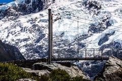 Bridge over Hooker River in Aoraki national park New Zealand Royalty Free Stock Photo
