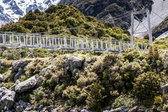 Bridge over Hooker River in Aoraki national park New Zealand Stock Photos
