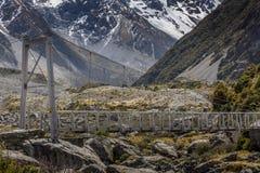 Bridge over Hooker River in Aoraki national park New Zealand Stock Photo