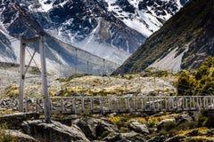 Bridge over Hooker River in Aoraki national park New Zealand Stock Images