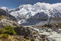 Bridge over Hooker River in Aoraki national park New Zealand Royalty Free Stock Images