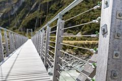 Bridge over Hooker River in Aoraki national park New Zealand Stock Image