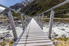 Bridge over Hooker River in Aoraki national park New Zealand Royalty Free Stock Photos