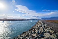 Bridge over icelands Jokulsarlon Stock Photography
