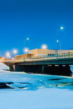 Bridge Over Icy River 3. Nocturnal view of the bridge crossing the icy river Pyhajoki in the Northern Finland royalty free stock image