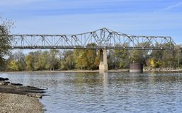 Bridge Over The Illinois River. This is a Fall picture of a Bridge Over The Illinois River located in Utica, Illinois in LaSalle County. The Bridge built in 1962 royalty free stock photos