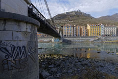 Bridge over Isere river and Bastille Stock Image