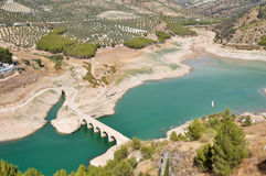 Bridge over Iznajar reservoir (Spain) Royalty Free Stock Photos