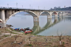 Bridge over The Jialing River Royalty Free Stock Images
