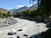 Bridge over Kali Gandaki river in Jomson, Nepal royalty free stock photo