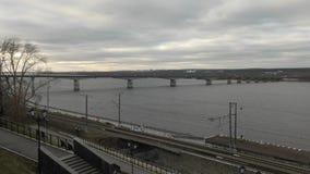 Bridge over Kama river stock footage