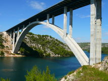 Bridge over Krka river. This majestic bridge leads over river in Croatia called Krka Stock Image