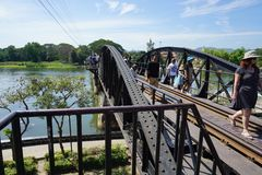 Bridge over the Kwai River, Kanchanaburi, Thailand Royalty Free Stock Images