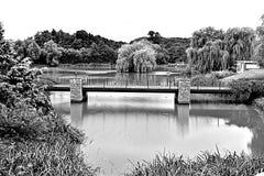 Bridge over lake. Stock Photo