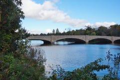 Bridge over Lake Carnegie in Princeton, NJ in the fall Stock Photography