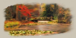 Bridge over lake in forest paining stock photos