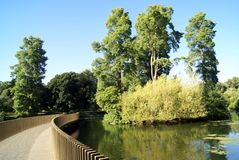 Bridge over a lake at Kew Gardens Landscape in England Stock Photography