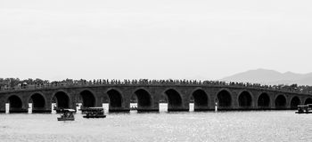 Bridge over lake Kunming at summer palace in Beijing Royalty Free Stock Photography