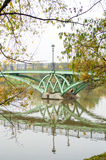Bridge over the lake, october landscape in Tsaritsyno Park, Moscow Stock Photo