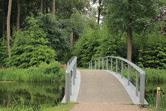 Bridge over lake  in park. View at bridge over lake in beautiful park Royalty Free Stock Photo