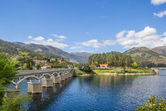 Bridge over a lake in Peneda Geres. Portugal royalty free stock photos