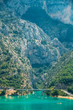 Bridge over the Lake of Sainte-Croix in France. Verdon Gorge Royalty Free Stock Photography