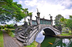 Bridge over lake at Tirtagangga Water Palace Royalty Free Stock Images