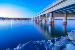 Bridge over lake wylie stock images