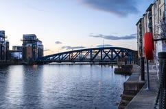 Bridge over Leith Harbour at Dusk, Edinburgh Royalty Free Stock Photo