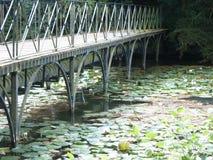 Bridge over lilly pad lake Stock Photos