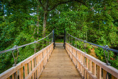 Bridge over Little Sugar Creek, at Freedom Park, in Charlotte, N Royalty Free Stock Photo