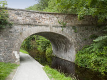 Bridge over Llangollen canal with towpath in Wales UK. Traditional towpath was for pulling narrow boat by horse power Stock Photos