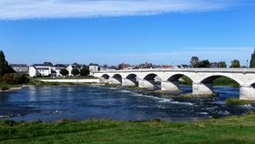 Bridge over the Loire in Amboise in the Indre-et-Loire department in central France. 