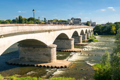Bridge over the Loire in the historical city of Amboise, France Stock Images