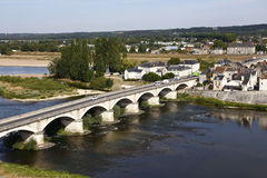 Bridge over the Loire River, Loire Valley  -  Europe, France,  shot from Amboise, Amboise Castle, Chateau d' Amboise, Castle - Aug Stock Photo
