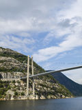 Bridge over the Lysefjord. During a tourist cruise Royalty Free Stock Image