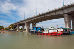 Bridge over the Malacca river. Royalty Free Stock Photography