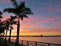 Bridge over the Manatee River at sunset Royalty Free Stock Photos