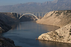 Bridge over Maslenica gorge Stock Image